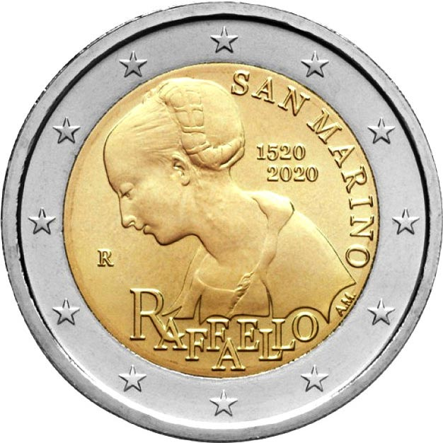 Image of 2 euro coin - 500th Anniversary of the Death of Raphael | San Marino 2020