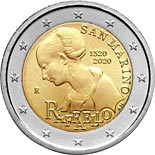 2 euro coin 500th Anniversary of the Death of Raphael | San Marino 2020