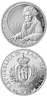 10 euro coin 250th Anniversary of the Birth of Ludwig van Beethoven | San Marino 2020