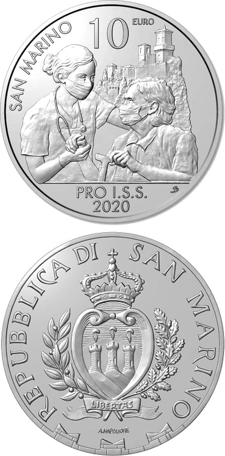 Image of 10 euro coin - Pro I.S.S. | San Marino 2020.  The Silver coin is of Proof quality.