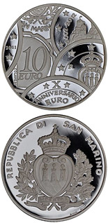 10 euro 10 Years of Euro Coins and Banknotes - 2011 - Series: Silver 10 euro coins - San Marino