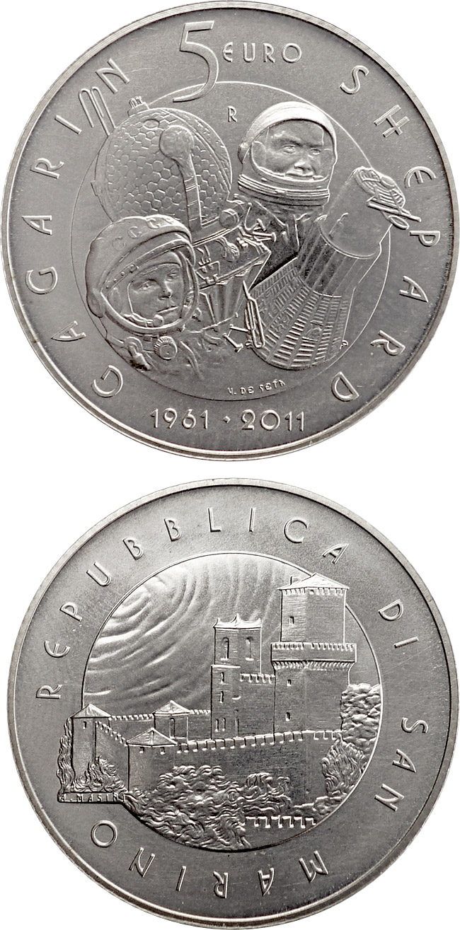 Image of a coin 5 euro | San Marino | 50th anniversary of men in space | 2011