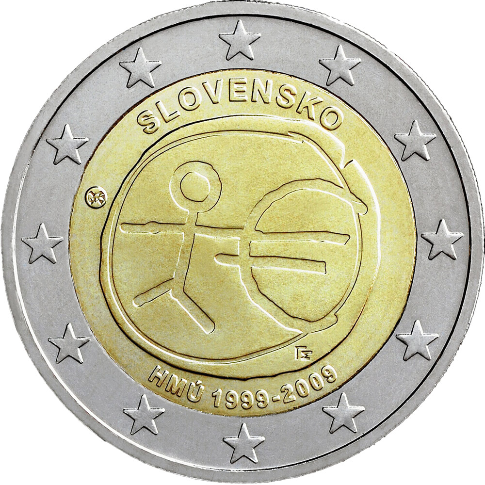 Image of 2 euro coin - 10th Anniversary of the Introduction of the Euro | Slovakia 2009