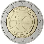 2 euro coin 10th Anniversary of the Introduction of the Euro | Slovakia 2009