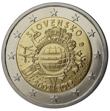 2 euro Ten years of Euro  - 2012 - Series: Commemorative 2 euro coins - Slovakia