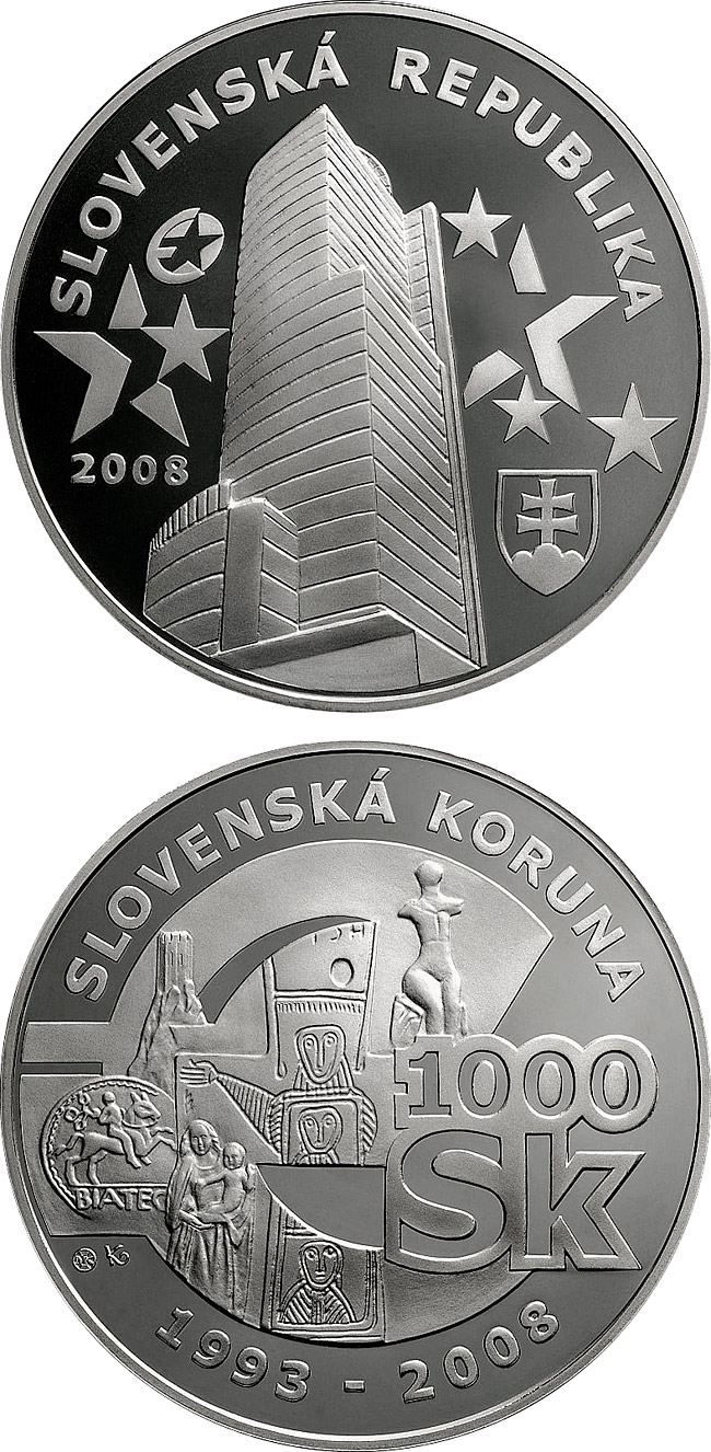 Image of 1000 crowns coin – Farewell to the Slovak Koruna | Slovakia 2008.  The Silver coin is of Proof quality.