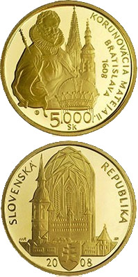 Image of 5000 crowns coin - The Bratislava Coronations - 400th Anniversary of the Coronation of Matthias II | Slovakia 2008.  The Gold coin is of Proof quality.