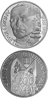 200 crowns Andrej Kmet - the 100th Anniversary of the Death - 2008 - Series: Silver 200 crown coins - Slovakia