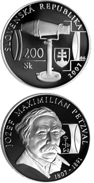 Image of Jozef Maximilian Petzval - the 200th Anniversary of the Birth – 200 crowns coin Slovakia 2007.  The Silver coin is of Proof, BU quality.