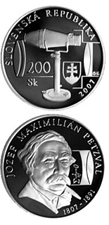 200 crowns Jozef Maximilian Petzval - the 200th Anniversary of the Birth - 2007 - Series: Silver 200 crown coins - Slovakia