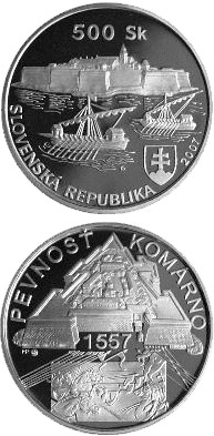 Image of 500 crowns coin - The Construction of the Old Fortress at Komarno - the 450th Anniversary | Slovakia 2007.  The Silver coin is of Proof, BU quality.