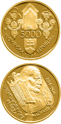 Image of 5000 crowns coin - Mojmir II, the Great Moravian Ruler | Slovakia 2006.  The Gold coin is of Proof quality.
