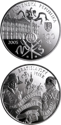 Image of 200 crowns coin - Peace of Bratislava - the 200th Anniversary of the Signing | Slovakia 2005.  The Silver coin is of Proof, BU quality.