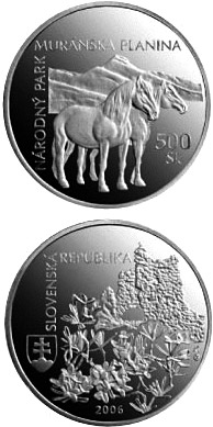 Image of a coin 500 crowns | Slovakia | Protection of Nature and Landscape:Muranska planina National Park | 2006