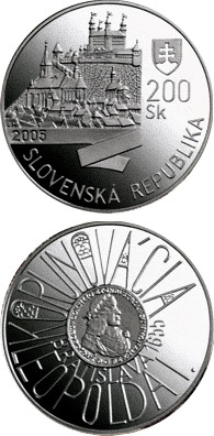 Image of a coin 200 crowns | Slovakia | The Bratislava Coronations - 350th Anniversary of the Coronation of Leopold I | 2005