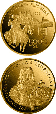 Image of a coin 5000 crowns | Slovakia | The Bratislava Coronations - 350th Anniversary of the Coronation of Leopold I | 2005