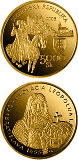 5000 crowns The Bratislava Coronations - 350th Anniversary of the Coronation of Leopold I - 2005 - Series: Gold 5000 crown coins - Slovakia
