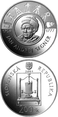 Image of 200 crowns coin - The 300th anniversary of the birth of Jan Andrej Segner | Slovakia 2004.  The Silver coin is of Proof, BU quality.