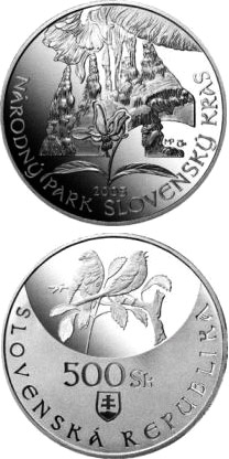 Image of 500 crowns coin Protection of Nature and Landscape: Slovensky Kras National Park | Slovakia 2005.  The Silver coin is of Proof, BU quality.