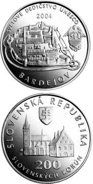 200 crowns UNESCO World Heritage: Bardejov - Town Conservation Reserve - 2004 - Series: Silver 200 crown coins - Slovakia