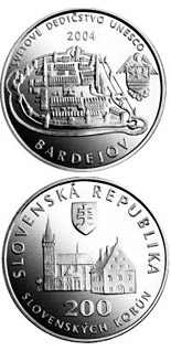 200 crowns coin UNESCO World Heritage: Bardejov - Town Conservation Reserve | Slovakia 2004