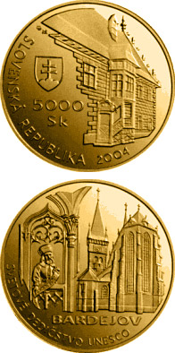 Image of 5000 crowns coin - UNESCO World Heritage: Bardejov - Town Conservation Reserve | Slovakia 2004.  The Gold coin is of Proof quality.