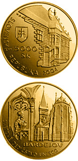 5000 crowns UNESCO World Heritage: Bardejov - Town Conservation Reserve - 2004 - Series: Gold 5000 crown coins - Slovakia