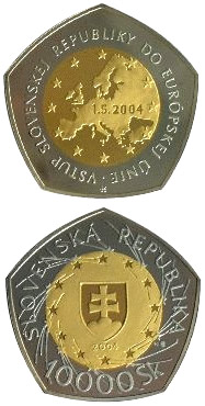 Image of a coin 10000 crowns | Slovakia | The Entry of the Slovak Republic to the European Union | 2004