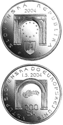 Image of 200 crowns coin - The Entry of the Slovak Republic to the European Union | Slovakia 2004.  The Silver coin is of Proof, BU quality.