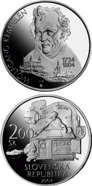 200 crowns The 200th anniversary of the death of Wolfgang Kempelen - 2004 - Series: Silver 200 crown coins - Slovakia
