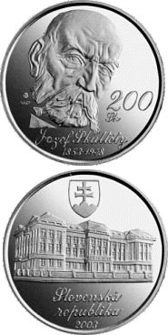 Image of 200 crowns coin - The 150th anniversary of the birth of Jozef Skultety | Slovakia 2003.  The Silver coin is of Proof, BU quality.