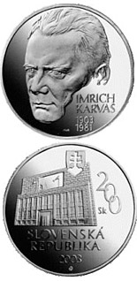 200 crowns coin The centenary of the birth of Imrich Karvas | Slovakia 2003