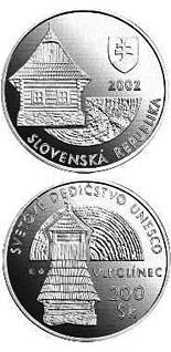 Image of 200 crowns coin - UNESCO World Heritage:  Vlkolinec, Folk Architecture Reserve | Slovakia 2002.  The Silver coin is of Proof, BU quality.