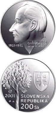 Image of 200 crowns coin - The 80th anniversary of the birth of Alexander Dubcek | Slovakia 2001.  The Silver coin is of Proof, BU quality.