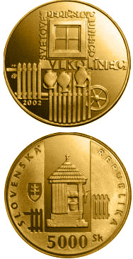 Image of a coin 5000 crowns | Slovakia | UNESCO World Heritage: Vlkolinec, Folk Architecture Reserve | 2002