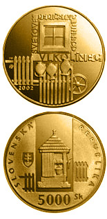 5000 crowns UNESCO World Heritage: Vlkolinec, Folk Architecture Reserve - 2002 - Series: Gold 5000 crown coins - Slovakia
