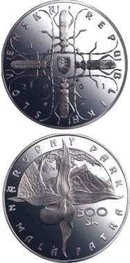 Image of 500 crowns coin - The Mala Fatra National Park | Slovakia 2001.  The Silver coin is of Proof, BU quality.