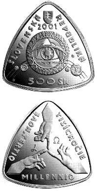 Image of 500 crowns coin – The Beginning of the Third Millennium | Slovakia 2001.  The Silver coin is of Proof, BU quality.