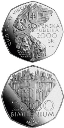 Image of 2000 crowns coin - The Jubilee Year 2000 - Bimillennium | Slovakia 2000.  The Silver coin is of Proof quality.