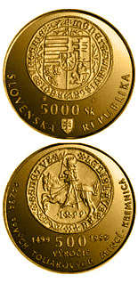 5000 crowns The 500th anniversary of the striking of the first Thaler coins in Kremnica - 1999 - Series: Gold 5000 crown coins - Slovakia