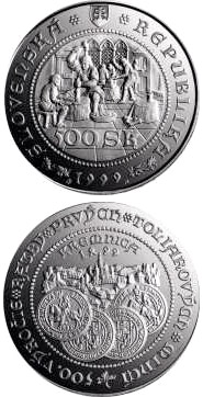 Image of 500 crowns coin - The 500th anniversary of the striking of the first thaler coins at Kremnica | Slovakia 1999.  The Silver coin is of Proof, BU quality.