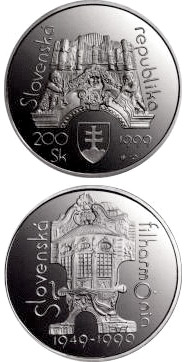 Image of 200 crowns coin - The 50th anniversary of founding of the Slovak Philharmonia | Slovakia 1999.  The Silver coin is of Proof, BU quality.