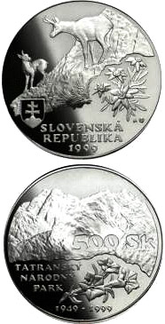 Image of 500 crowns coin - The fiftieth anniversary of the declaration of the Tatras National Park | Slovakia 1999.  The Silver coin is of Proof, BU quality.