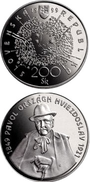 Image of 200 crowns coin – The 150th anniversary of the birth of Pavol Országh Hviezdoslav | Slovakia 1999.  The Silver coin is of Proof, BU quality.