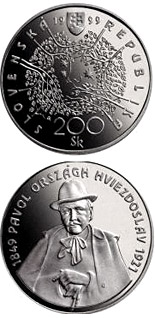 200 crowns coin The 150th anniversary of the birth of Pavol Országh Hviezdoslav | Slovakia 1999