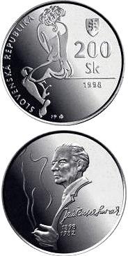 Image of 200 crowns coin - The centenary of the birth of Jan Smrek | Slovakia 1998.  The Silver coin is of Proof, BU quality.