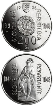 Image of 200 crowns coin - The 150th anniversary of the origin of the Slovak National Council and the outbreak of the Slovak Uprising of 1848/1849 | Slovakia 1998.  The Silver coin is of Proof, BU quality.