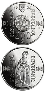 200 crowns coin The 150th anniversary of the origin of the Slovak National Council and the outbreak of the Slovak Uprising of 1848/1849 | Slovakia 1998