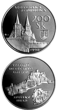 Image of The UNESCO World Heritage: The Spis Castle and the cultural monuments in its surroundings – 200 crowns coin Slovakia 1998.  The Silver coin is of Proof, BU quality.