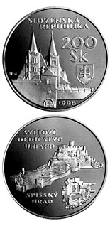 200 crowns The UNESCO World Heritage: The Spis Castle and the cultural monuments in its surroundings - 1998 - Series: Silver 200 crown coins - Slovakia